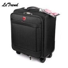 Letrend бизнес чемодан на колёсиках Spinner 18 дюймов для мужчин многофункциональный ручной чемодан на колесах тележка Оксфорд Дорожная сумка багажник
