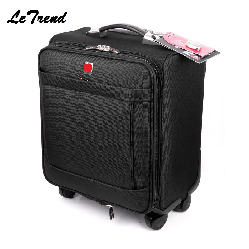 Letrend Business Rolling Luggage Spinner 18 inch Men Multifunction Carry On Wheels Suitcases Trolley Oxford Travel Bag Trunk black business oxford travel bag rolling luggage spinner suitcase wheels trolley case 18 inch men backpack cabin trunk