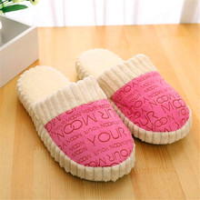 Autumn And Winter Letter Slippers Stitching To Keep Warm Indoor And Outdoor Non-Slip Suede Soft Bottom Cotton Slippers	H211