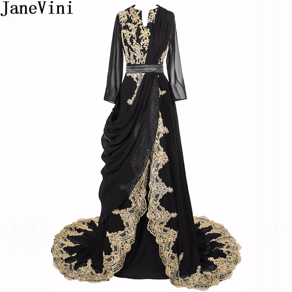 JaneVini Arabic Long Sleeve Women Prom   Dress   With Gold Lace Elegant Long Burgundy   Bridesmaid     Dresses   Caftan Dubai Formal Gowns