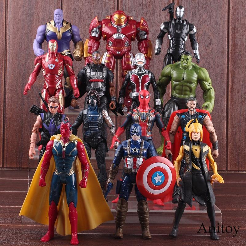 Avengers Infinity Guerra Hulk Thor Capitan America Spiderman Thanos Iron Man Visione Falco Loki PVC Marvel Avengers Hulkbuster Giocattoli