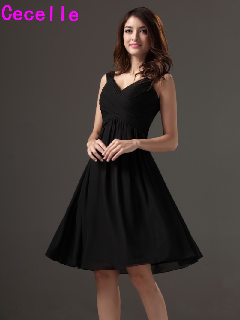 Little black short bridesmaid dresses tank straps a line for Little black wedding dress