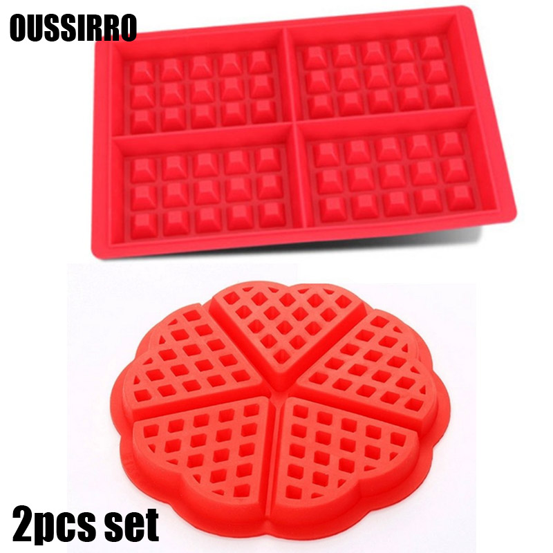2Pcs Heart and Rectangles Shapes Waffle Mold Maker Food Grade Silicone Mould Baking Cookie Cake Muffin