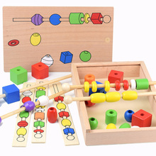 New Wooden Montessori Teaching Aids Color Shape Cognitive Hand-eye Coordination Toy Children's Educational Beaded Box Toy Gift цены