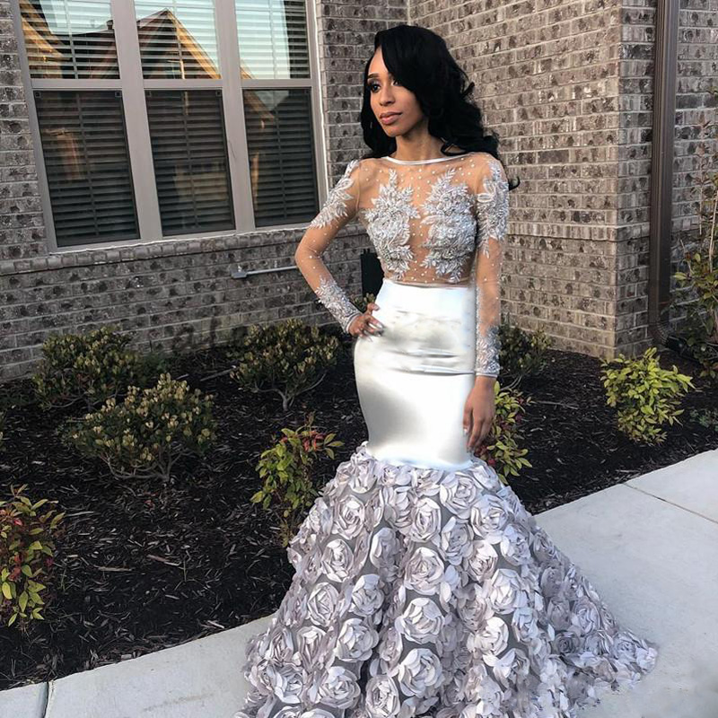 Sexy African Mermaid Silver   Prom     Dresses   Long 2019 Illusion Top Long Sleeves Appliqued Party Gown With Floral Train