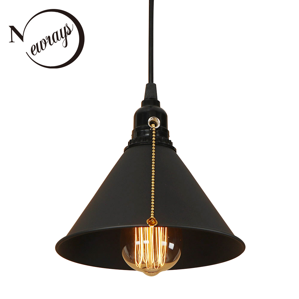 Modern iron painted Nordic style pull chain switch hanging lamp E27 ...