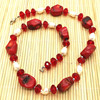Stone Necklace Natural Coral And Water Pearl Necklace Choker Necklace Pearl Jewelry Sweater Necklace Silver Color