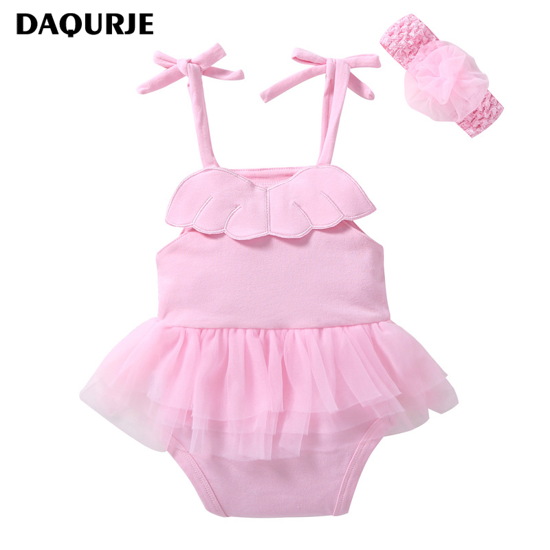 DAQURJE Newborn Baby Girls Clothes Summer Solid Belt Baby Bodysuit Infant Baby Clothing Sets Kids Children Costume