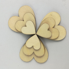 100PCS Wooden Buttons Heart Shaped Scrapbooking Mixed Craft DIY Sewing Accessories Wedding Table Decoration Decor