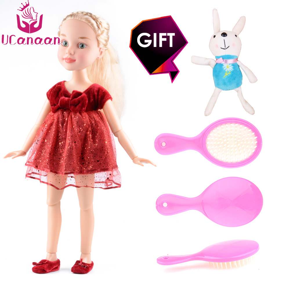 UCanaan 18/45cm Girl Doll 14 Ball Jointed Body Realistic BJD Dolls Reborn Baby Toys Birthday Gift As American Girl Doll [mmmaww] christmas costume clothes for 18 45cm american girl doll santa sets with hat for alexander doll baby girl gift toy
