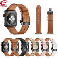 EIMO Strap For Apple watch 4 3 iwatch band 42mm 44mm 38mm 40mm Genuine Leather Butterfly Loop Wrist band Bracelet Watchband
