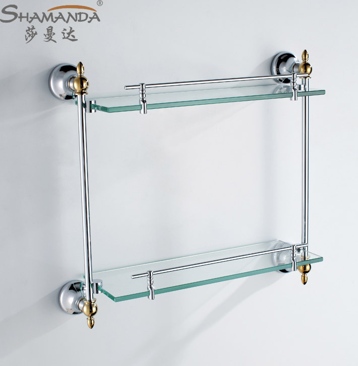 Free shipping Fasion design brass & glass chrome finishing double ...