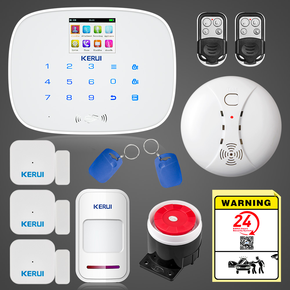KERUI Russian English Language 433MHZ Wireless Home Alarm PIR Motion Detect Burglar Alarm System with Wireless Smoke Detector kerui p815 wireless alarm pir sensor motion detector with long detect distance