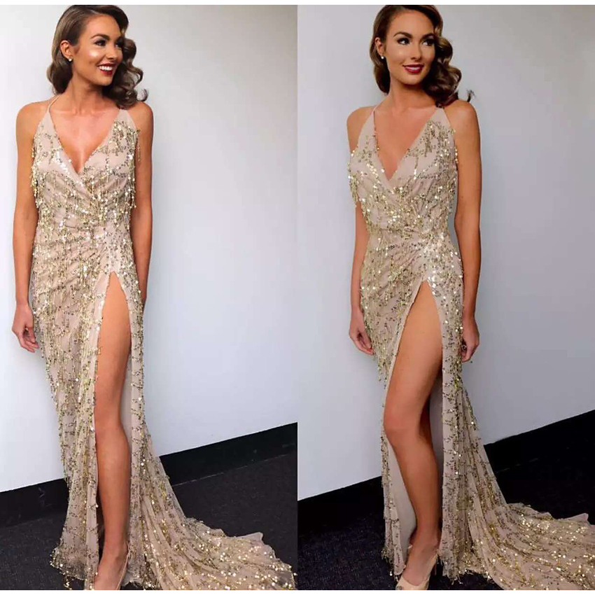 HIGH QUALITY New Fashion 2017 Sexy Party Dress Women s Spaghetti Strap Bling Sparkle Sequined Slit