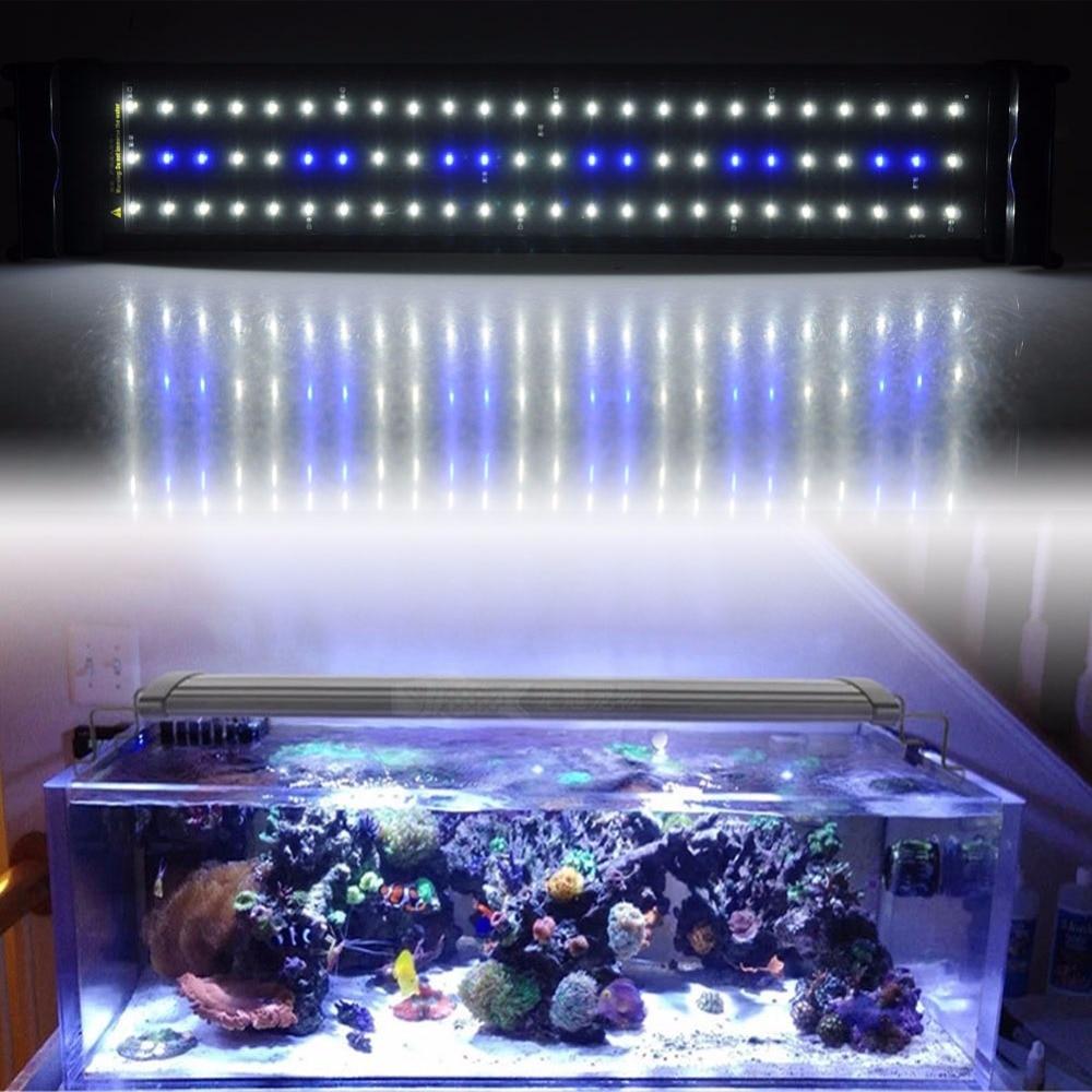 Fish tank supplies - Aquarium Led Lighting Fish Tank Smd Led Light Lamp 11w Extendable 50cm 68cm 60 White 12 Blue Chips 220v Eu Plug Power Supply