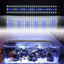 Aquarium LED Lighting Fish Tank SMD LED Light Lamp 11W Extendable 50CM-68CM 60 White 12 Blue Chips 220V EU Plug Power Supply(China)