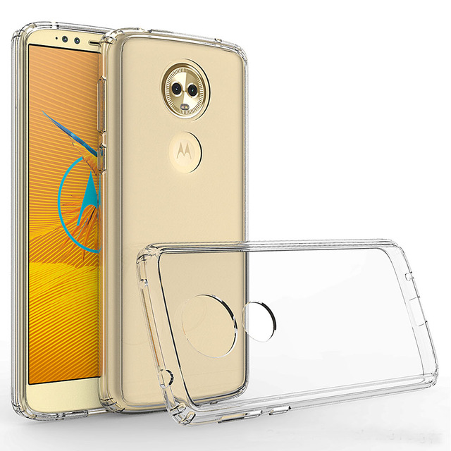 4d09efb4e94a For Motorola Moto E5 Plus E5 Supra Slim Fit Transparent Clear Case Soft TPU  Frame Hard PC Back Shockproof Protective Phone Cover
