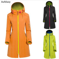 Aufdiazy New Brand Long Windbreaker Windproof Waterproof Women Winter Jacket Sport Camping Hiking Outdoor Softshell jacket IM022