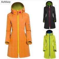 Aufdiazy New Brand Long Windbreaker Windproof Waterproof Women Winter Jacket Sport Camping Hiking Outdoor Softshell jacket IM022