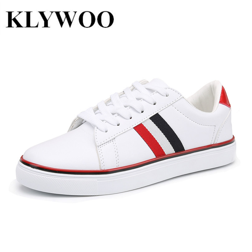KLYWOO Big Size 36-46 Mens Shoes Couple White Color Leather Casual Shoes Men Brand Style Fashion Sneakers Men Shoes Breathable size 36 46 men