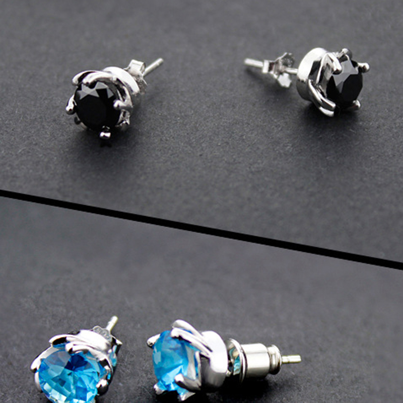 New Fashion Silver Color Crystal Stud Earrings For Women Men Party Simple Ear Studs Piercing Jewelry Gifts
