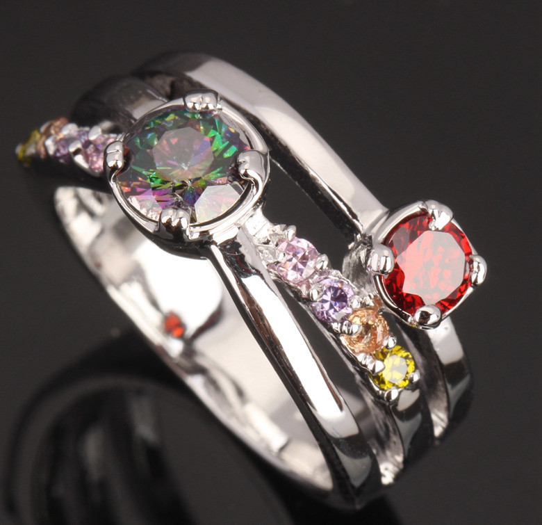 Charismatic Mystic Rainbow Multicolor Gems Party Jewelrys 925 Sterling Silver Bridal Sets Ring Size 6 / 7 / 8 / 9 S0630
