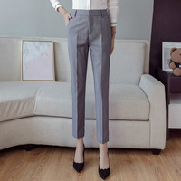 New Spring OL Women Casual High Waist Slim Work Straight Ankle length Pants Office Pants Flare Trousers Pantalones Mujer