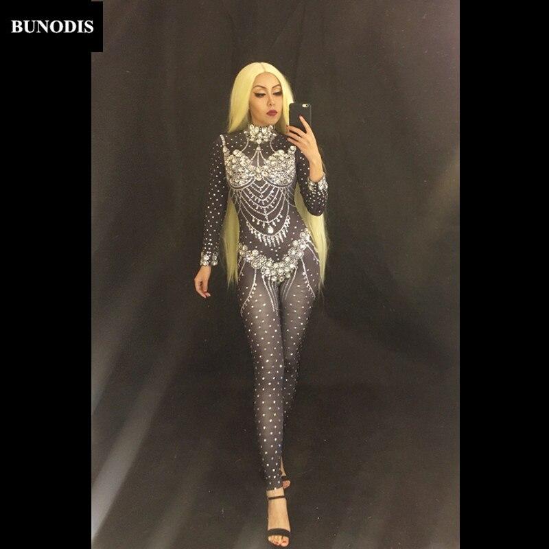BU138 пикантные Стекло бриллиантами черный комбинезон полные сверкающими кристаллами боди праздновать для ночного клуба вечерние певица Эта