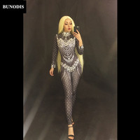 BU138 Sexy Glass Diamonds Black Jumpsuit Full Sparkling Crystals Bodysuit Celebrate Nightclub Party Singer Stage Wear Costume