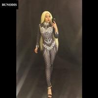 BU138 Sexy Glass Diamonds Black Jumpsuit Full Sparkling Crystals Bodysuit Celebrate Nightclub Party Singer Stage Wear Costume