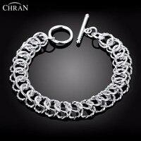 CHRAN Classic Mesh Style Wedding Bracelets Jewelry Wholesale Fashion Copper Silver Plated Chain Bracelets For Women