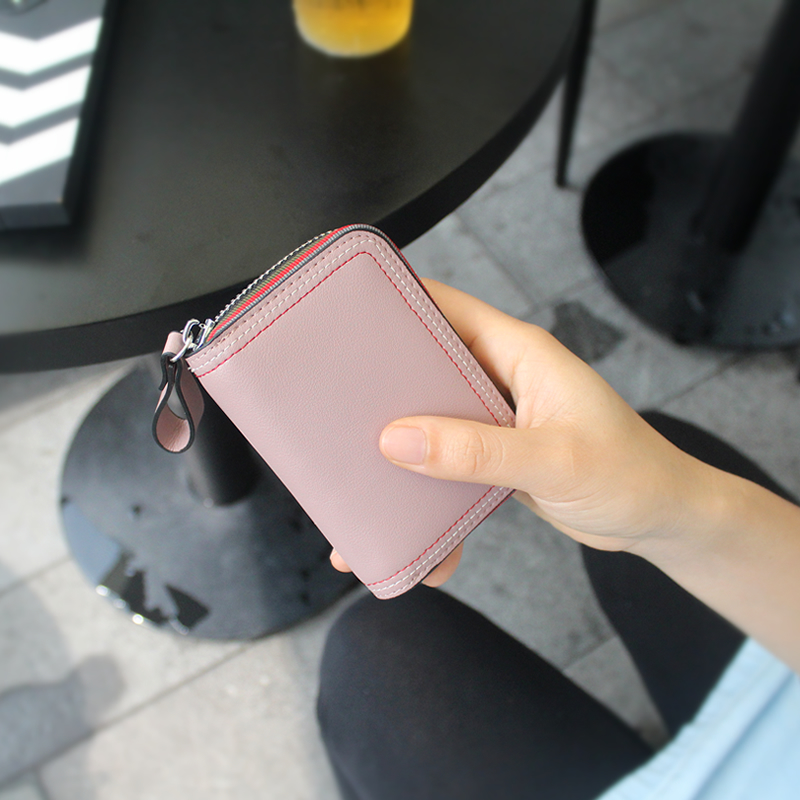 Credit Card Holder Solid Passport Holder Real Porte Carte Genuine Pickup Bag Womens Card Simple Bank Mini Zipper Lady 2018 New