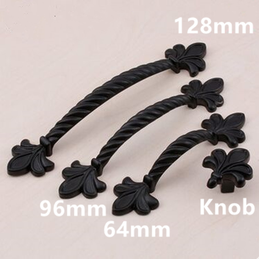 128mm black kitchen cabinet drawer pull knob 96mm antique black dresser door handle Retro modern fashion furniture handles knobs 10pcs kitchen cabinet handles and knobs black furniture handle for kitchen cabinet drawer pull single hole 64mm 96mm 128mm