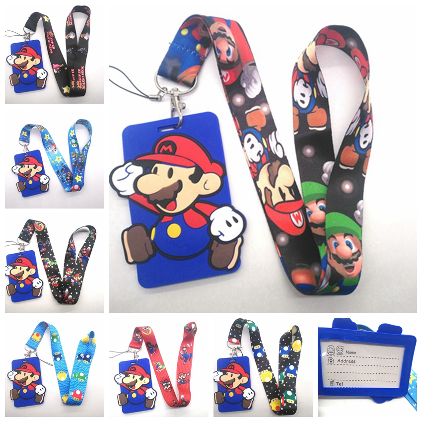New 1 Pcs Super Mario Card With Neck Strap Lanyard Mobile Phone Charms Key Chain G2