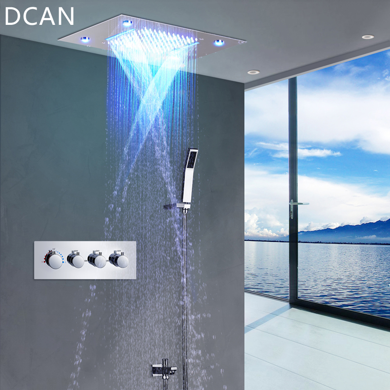 DCAN LED Ceiling Shower Head Rain Waterfall Shower Massage Jets Wall Mounted Panel Tap Sets Thermostatic