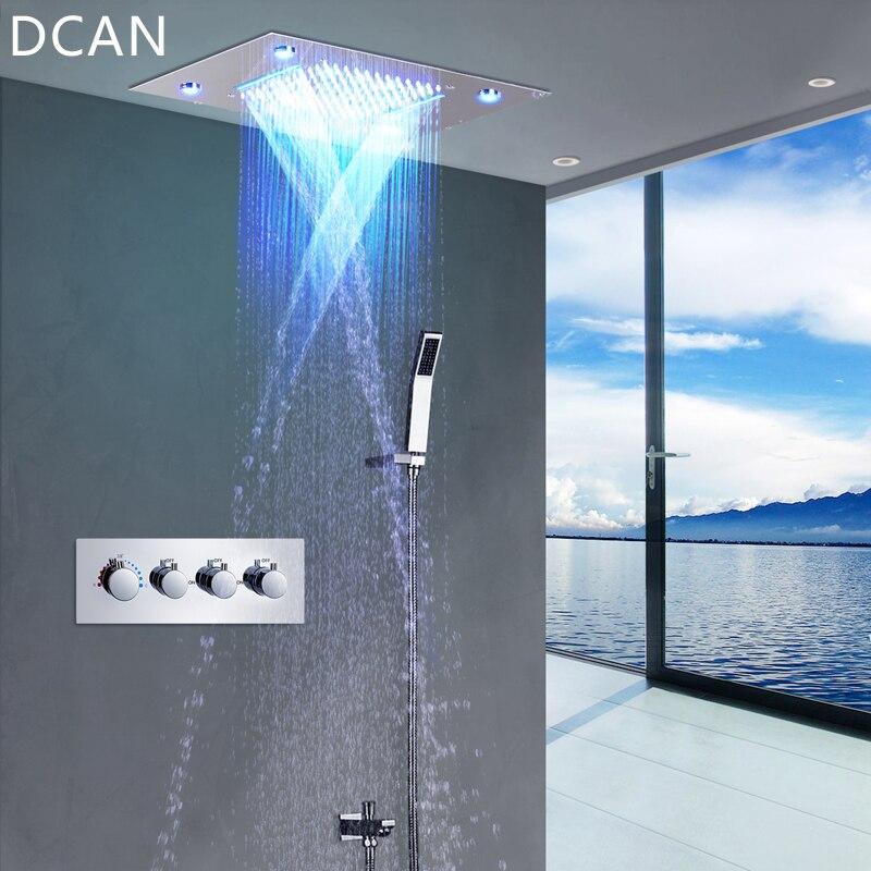 DCAN LED Cabeça de Chuveiro de Teto Chuva Cachoeira Chuveiro Conjuntos de Massagem Jatos Painel de Parede Torneira Misturadora Termostática