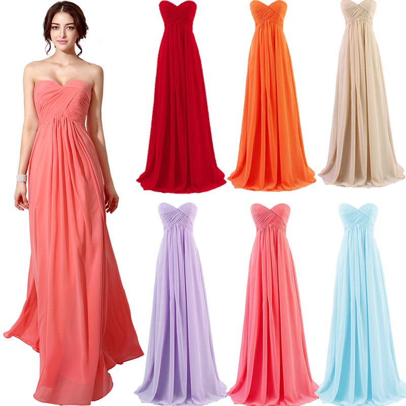 Cheap in Stock Summer Sweetheart   Bridesmaid     Dresses   2018 Chiffon Pleat Long Maid of Honor   Dress   Lace Up Back Party Gowns OS182