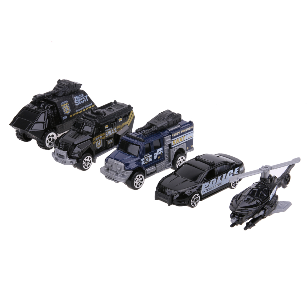 5pcs 164 scale alloy police car models kids children car toy gift set diecast
