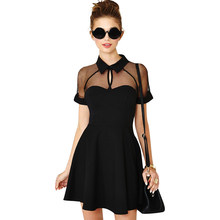 Anself Women 4XL 5XL Plus Size Skater Dress Sheer Mesh Insert Turn-down  Collar Black Dress High Waist Casual Sexy Summer Dress 4beb0102a