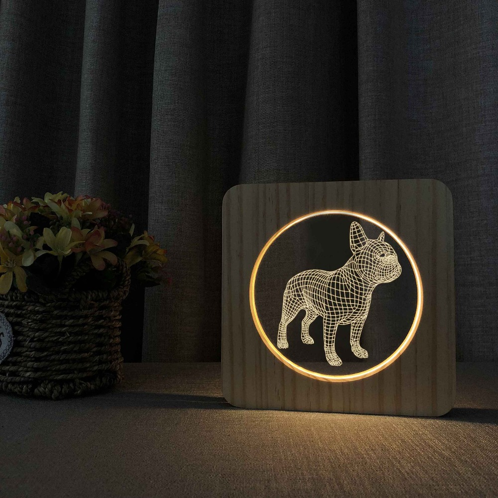 Wooden French Bulldog 3D LED Night 7 Colors USB Hologram Lamp Table Desk Light Baby Decor Decor Friend Toys Gifts Dropshipping