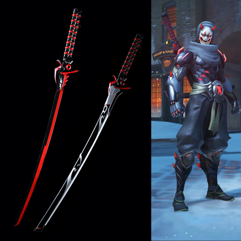 Për Over Watch Cosplay Props Replica Genji Oni Blade Skin Lëkurë Reale Fantasy Katana Brand New Supply Furnizim Shpatë Pa Sharp