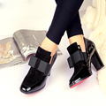 New 100% REAL PHOTO Red Bottom sole high heels pumps square toe genuine leather shoes women ladies black Sexy chaussure femme