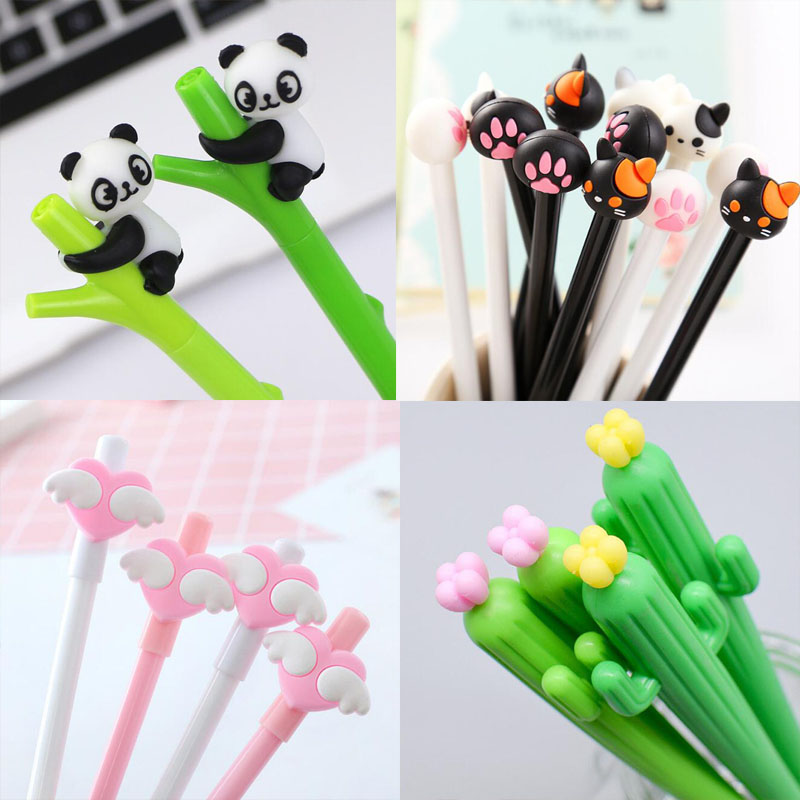 1pc Cute Panda Gel Pen Kawaii Black Cartoon Plastic Gel Pens For Writing Office School Supplies Stationery Cartoon Animal Pen