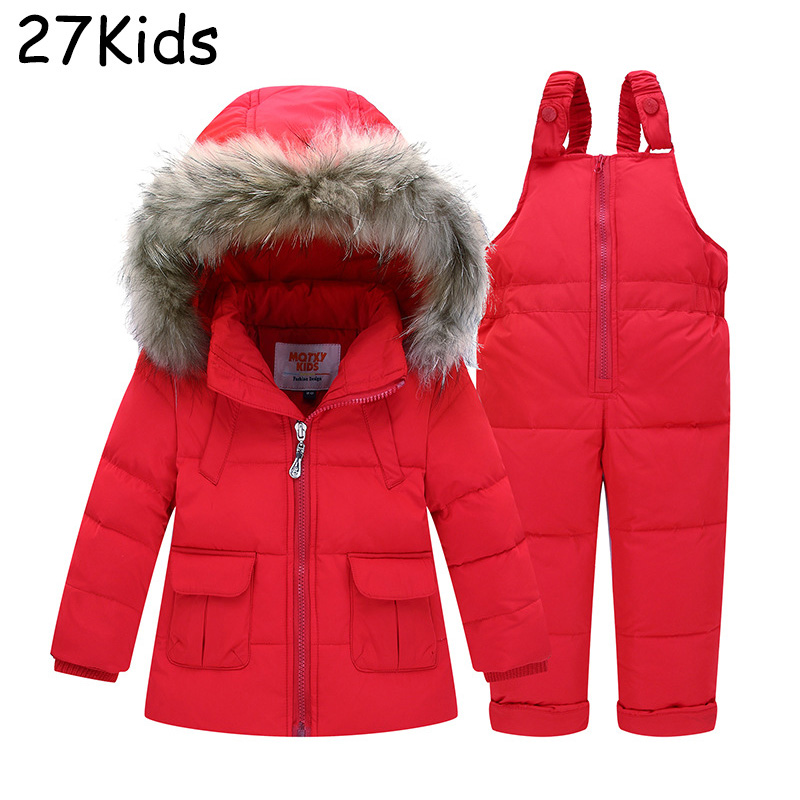 Baby Boys Girls Winter Warm Down Jacket Suit Set Thick Coat+Jumpsuit Baby Clothes Set Kids Hooded Jacket With Real Raccoon Fur newborn boys girls winter warm down jacket suit set thick coat overalls suits baby clothes set kids hooded jacket with scarf