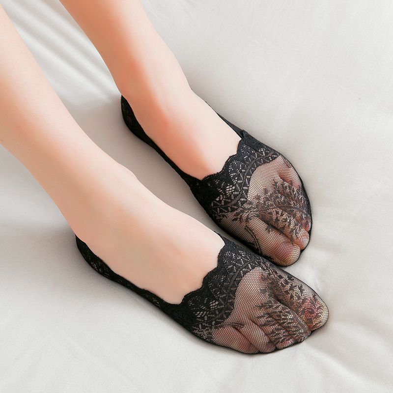 2019 Summer Cool 1 Pair of Women's Invisible Socks Slippers Short Solid Color Lace Thin Girl's Boat Socks Hot Sale