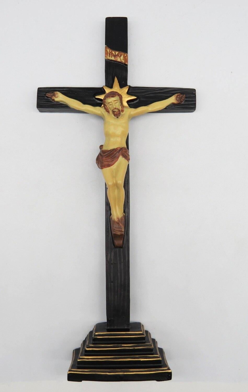 100% Wahr Harz Querstandplatz Mit Kruzifix (natürliche) Religiöse Figur Jesus Kreuz Kruzifix Figurine 11*4,8*1,4 Zoll Um Der Bequemlichkeit Des Volkes Zu Entsprechen
