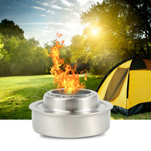 Outdoor Camping Solid Alcohol Stove Folding Round Windproof Stainless Steel Survival Cooking Picnic Cookware