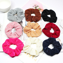 1PC Elastic Stripe hairband Velvet hair ties Scrunchie women girls Hair Accessories Solid soft Rubber Bands Ponytail Holder