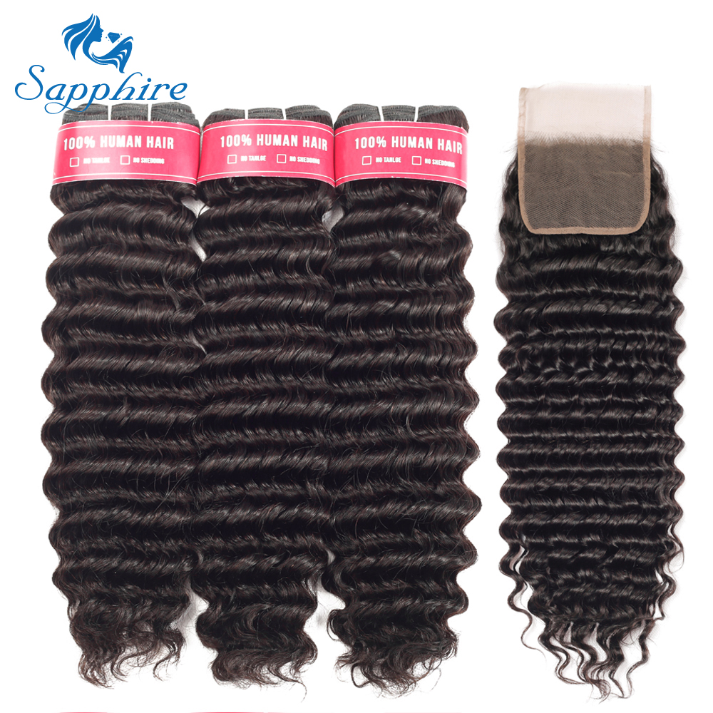 Mongolian Deep Wave Curly Human Hair Bundles With Closure Hair Extensions 3Bundles With Closure Remy Curly