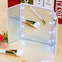 8 LED Lights Makeup Mirror Touch Screen Make-up 3 Folding Portable Mirrors Adjustable Tabletop Make Up Backlit Makeup Mirror